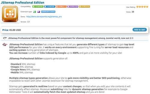 Estensione per la sitemap in Joomla: JSitemap